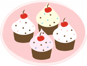 Four Cupcakes Clipart